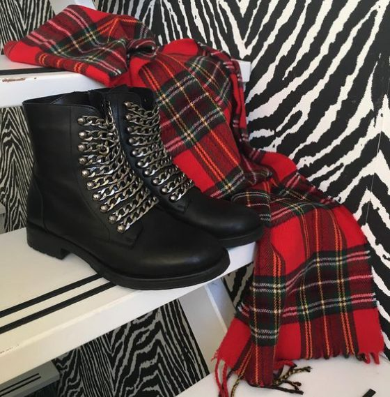 Sacha chain boots, Plaid shawl River Island